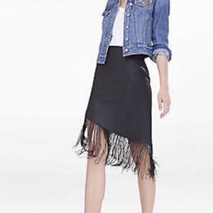 Black Leather and Fringe Asymmetrical Skirt